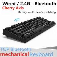 RK987 Wireless Mechanical Keyboard 87 key Black,Blue,Brown,Red Cherry Axis 2in1 Dual Mode Backlight Bluetooth Gaming Keyboard