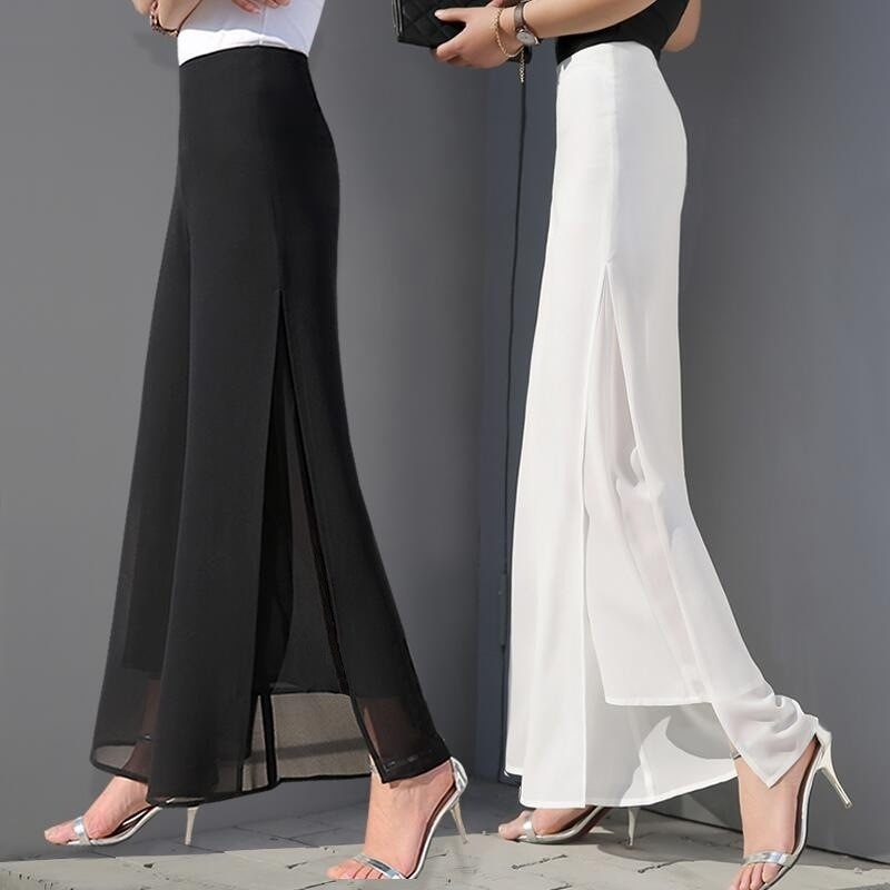 ZOGAA Women's Summer Wide Leg Long Trousers Casual Vintage High Waist Chiffon Side Split Loose Bohemia Skirt   Pants     Capris   Solid