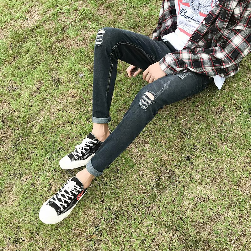 Autumn Men Capri Jeans Korean-style Trend Slim Fit Pants Ripped Jeans Men's Thin 9 Points Ripped Pants