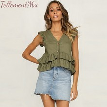 Elegant Tank Top Women Blouse Cotton Solid Shirts Ruffled V Neck Short Tops Ladies Casual Sleeveless Peplum Top