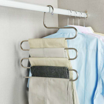Multi-functional S-type trouser rack stainless steel multi-layer trouser rack traceless adult trouser hanger 1