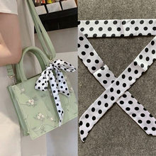 New Geometric Dot Print Silk Scarf Women Luxury Brand Scarf Bag Ribbons Fashion Head Scarf Small Long Skinny Scarves(China)