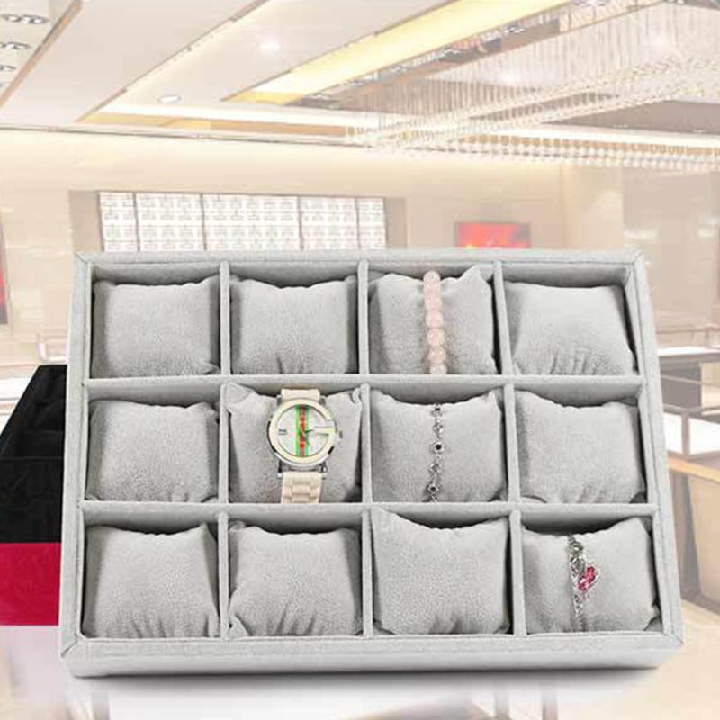 Watch Showcase Linen 12 Grid Jewelry Display Storage For Watches Bracelets
