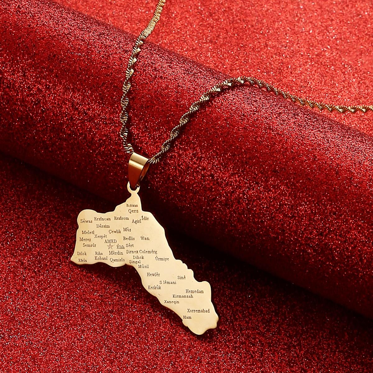 Кулон из нержавеющей стали золотого и серебряного цвета с картой Курдистана, ожерелья с подвеской в виде курдского флага ювелирные изделия ...
