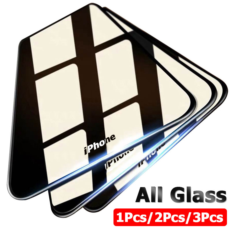 3PCS Full Cover Protective Glass On For IPhone 11 Pro Max Tempered Glass Film On IPhone X XR XS MAX 6 7 8 Plus Screen Protector