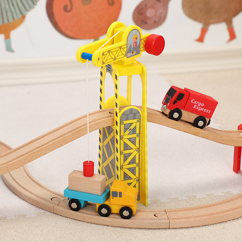Magnetic Wooden Crane House Railway Accessories Wooden Trains Toys DIY Educational Toy Compatible Wood Track Road Kids Gifts