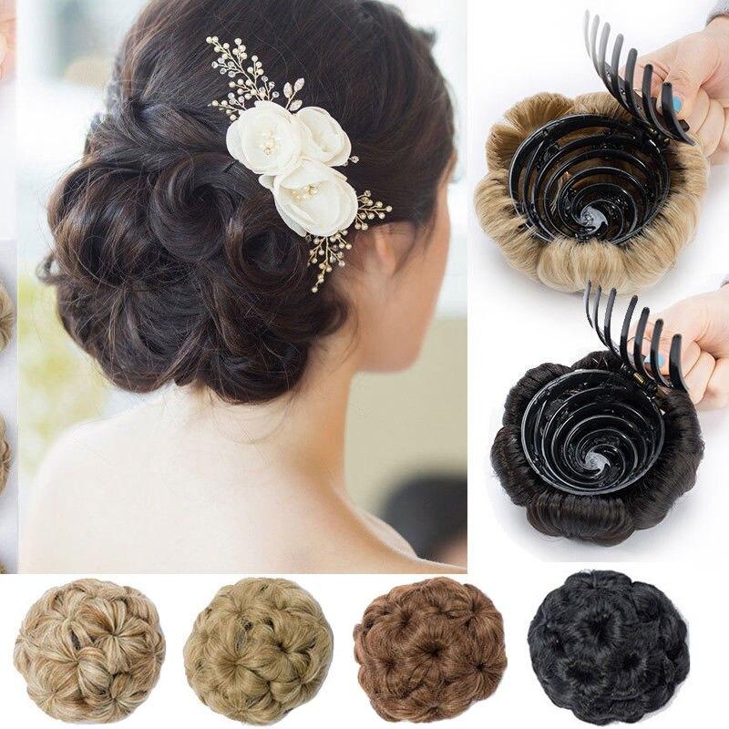 S-noilite коготь клип в шиньон волос Синтетический шиньон пучок волос черный коричневый блонд женщин вьющиеся шиньон пучок волос