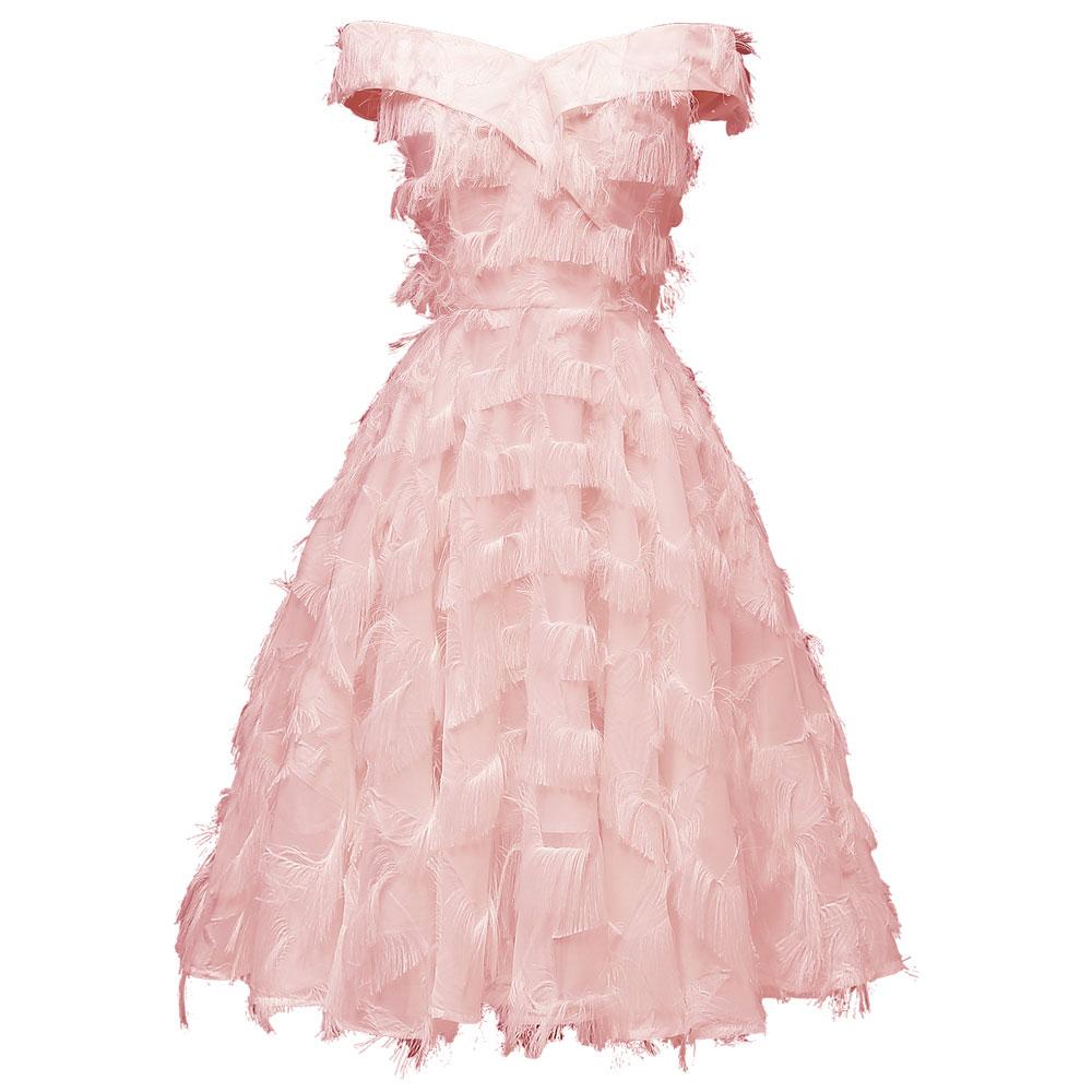 Красное коктейльное платье длиной до колена роскошное вечернее платье трапециевидной формы с кисточками сексуальное платье без рукавов с v-образным вырезом - Цвет: 1425 Pink