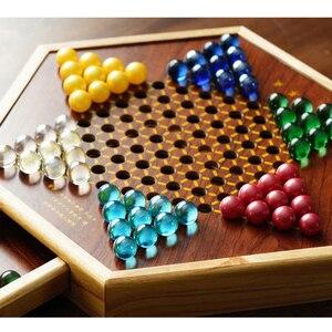 Image 5 - Top Grade Multicolor Marmor Chinese Checkers Schach Set Feine Holz Schachbrett Klassische Familie kinder Party Spielen Board Spiel