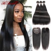Прямые пряди волос с застежкой Малазийские Волосы 3 пряди застежкой 4x4 кружевные застежки с пряди Ali Annabelle волосы