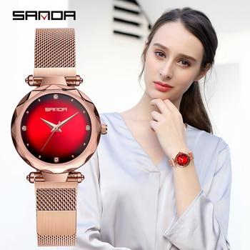 Sanda Luxury ladies Crystal Watch Women Dress Watch Fashion Rose Gold Quartz Watches Female Stainless Steel Wristwatches P1003