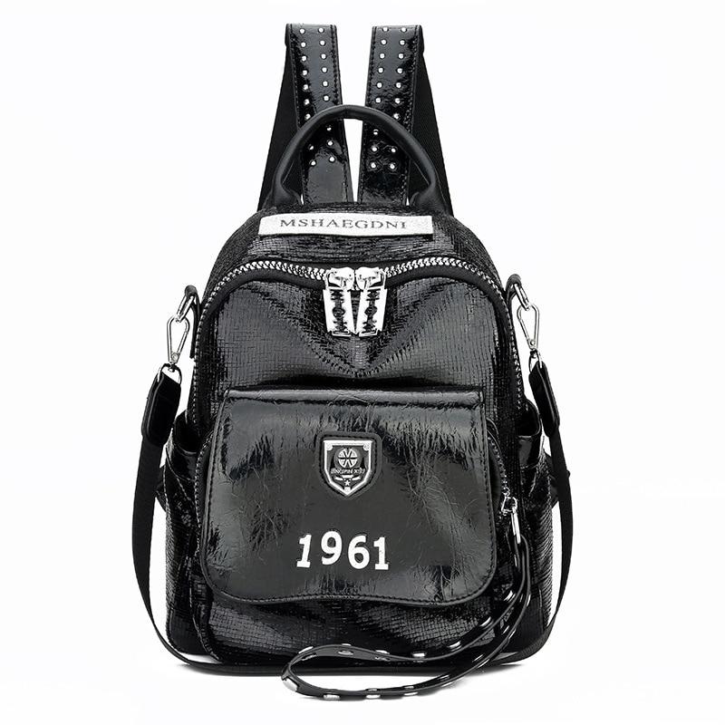 Silver Leather Bag Packs School Bags Teenage Girls Multi-function Travel Backpack Sac A Dos Shoulder Bag Black Back Pack Zipple