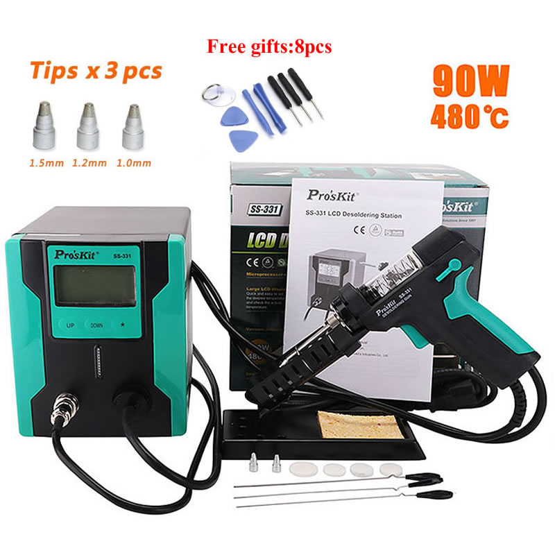 Pro'sKit SS-331H ESD LCD Digital Electric Desoldering Station Replace Accessories Filter Pipe Nozzle Needle Mat BGA Solder Gun