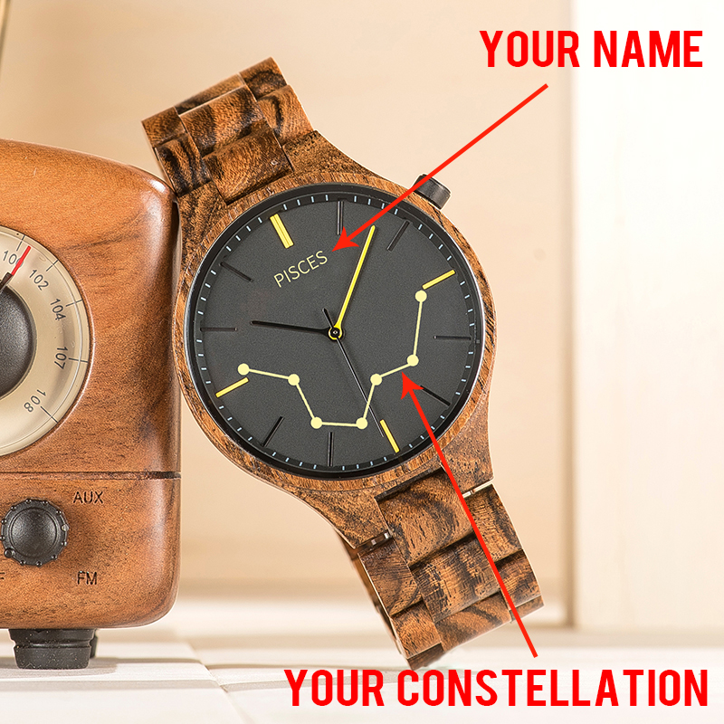 Customized Men Wooden Watch Add Your Name Engrave Constellation Personalized Wristwatch Birthday Gifts Relogio Masculino V-S27