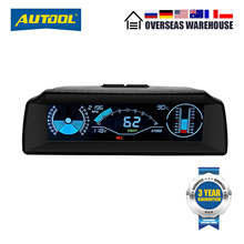 AUTOOL X90 Car HUD Head Up Display OBD II Gauge Electronics OBD2 Speedometer with Tilt Pitch Angle Protractor Latitude Longitude