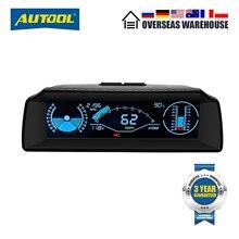 Autool x90 carro hud cabeça up display obd ii calibre eletrônica obd2 velocímetro com inclinação ângulo passo transferidor latitude longitude