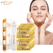 InniCare 10Pairs Gold Eye Mask and 1Pcs Rolling Eye Serum Combination Anti Aging Wrinkle Dark Circle Eyes Cream Skin Care electric facial massager for eyes lips anti aging wrinkle eye patch dark circle remover pen ion import eyes care massage device