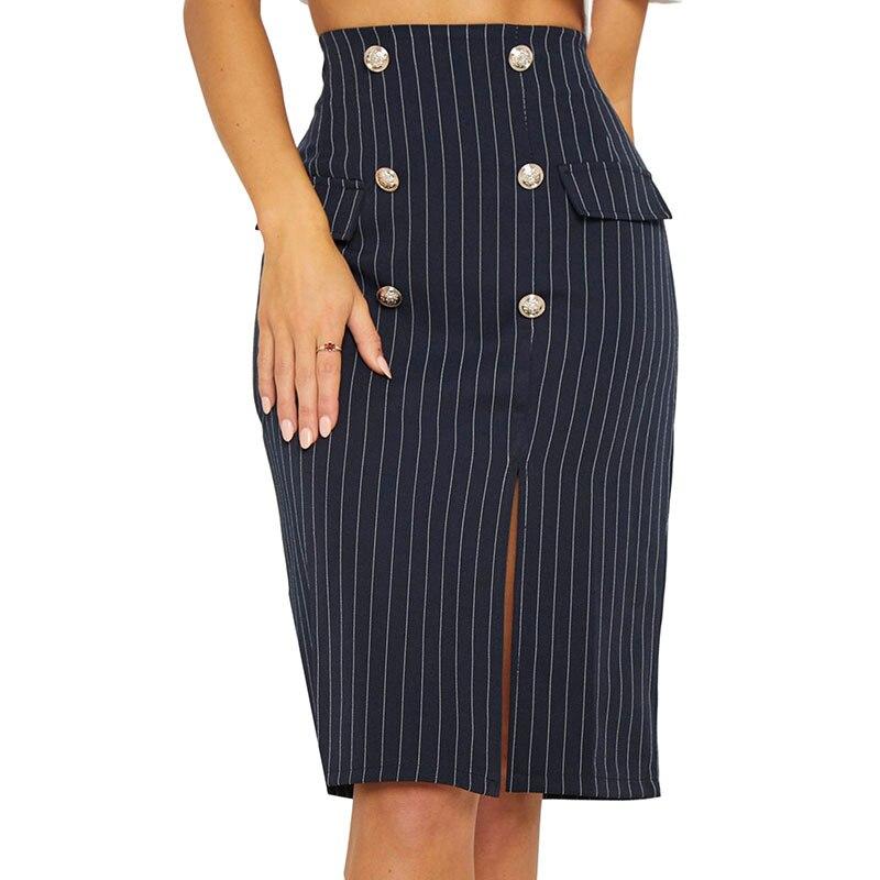 Women Pencil Skirt Fashion Striped High Waist Elastic Bag Hip Split  stripe zipper Skirts