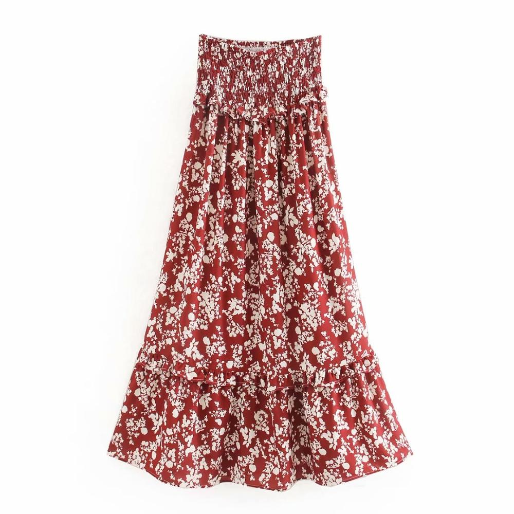 2020 Women Bohemian Tropical Red Flower Print Ruffles Long Skirt Faldas Mujer Ladies High Wasit Agaric Lace Chic Skirts QUN566