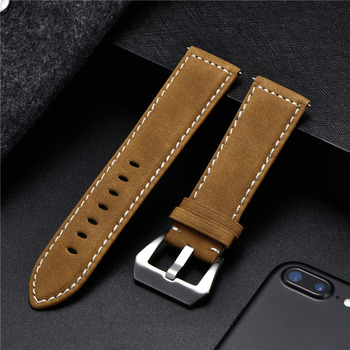 New Style Vintage Leather Watchband 18mm 20mm 22mm 24mm Frosted Handmade Thick Line Strap Watch Accessories Band 7 colors - discount item  60% OFF Watches Accessories