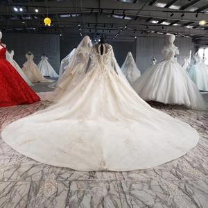 Image 2 - HTL1004 בציר חתונה שמלה עם גלימה אשליה o צוואר שרוול צעיף תחרה עד בחזרה חרוזים הכלה שמלות כלה יוקרה חלוק mariee