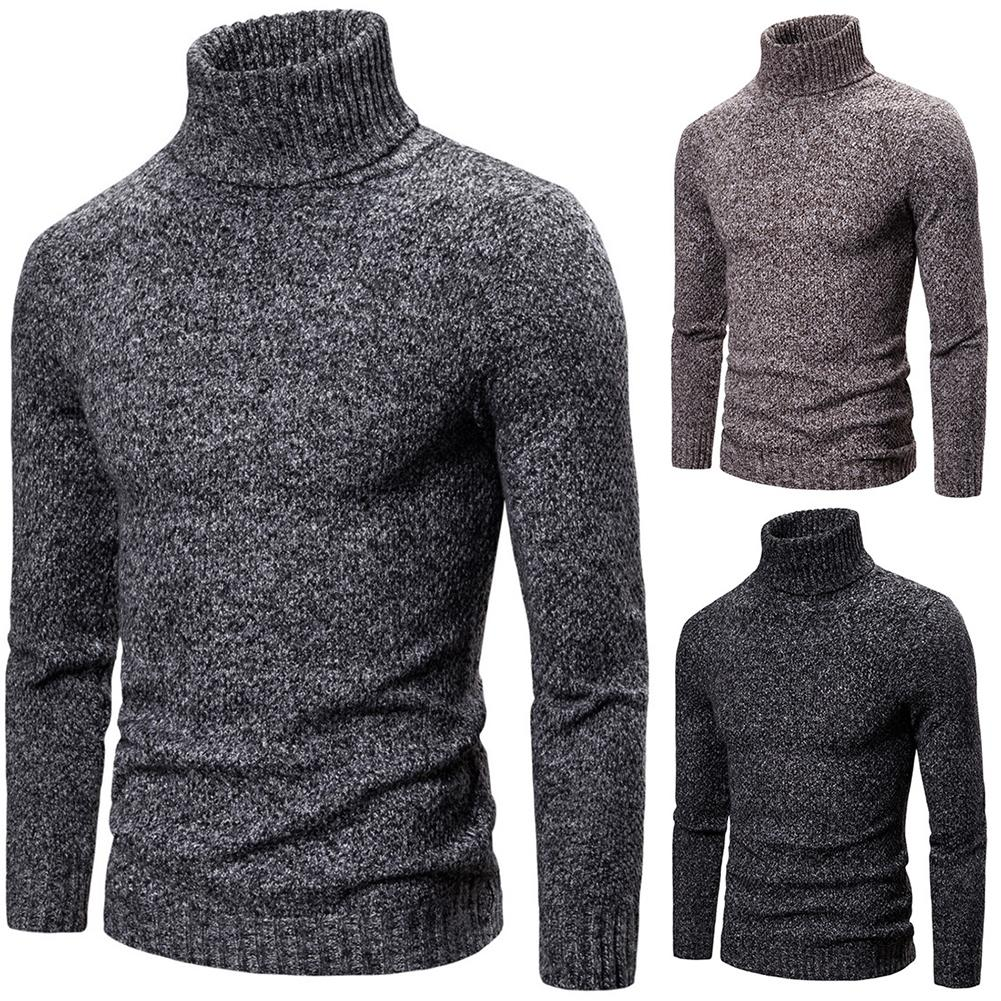 Fashion Sweater Men Autumn Winter Turtle Neck Sweaters Pullovers Thick Warm Knitted Sweater Slim Pullover Men's Sweaters