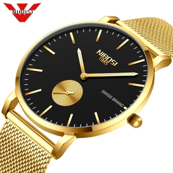 Fashion Watch Men NIBOSI Waterproof Slim Mesh Strap Minimalist Wrist Watches For Men Quartz Sports Watch Clock Relogio Masculino