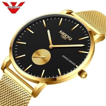 Fashion Watch Men NIBOSI Waterproof Slim Mesh Strap Minimalist Wrist Watches For Men Quartz Sports Watch Clock Relogio Masculino