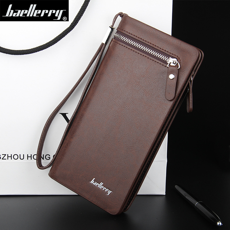 Baellerry Men Wallets Business Long Style Card Holder Male Purse Quality PU Zipper Large Capacity Luxury Wallet For Men Clutch