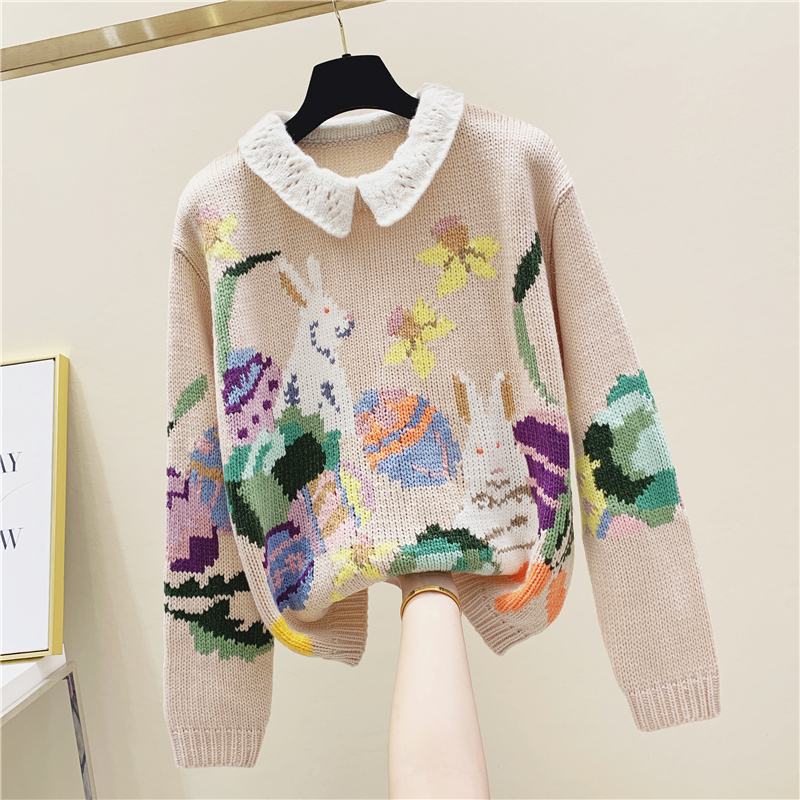 New Spring Sweater Winter Vintage Handmade Crochet Cute Doll Collar Pullover Sweater Vintage Pink Rabbit Sweater Ladies Jumper
