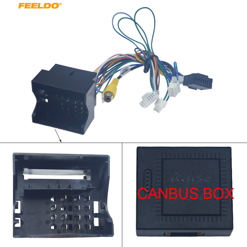 FEELDO 1PC Android Car Media Player Navi Radio CANBUS BOX Wire Harness For Volkswagen Golf 5/6/Polo/Passat/Tiguan/Touran