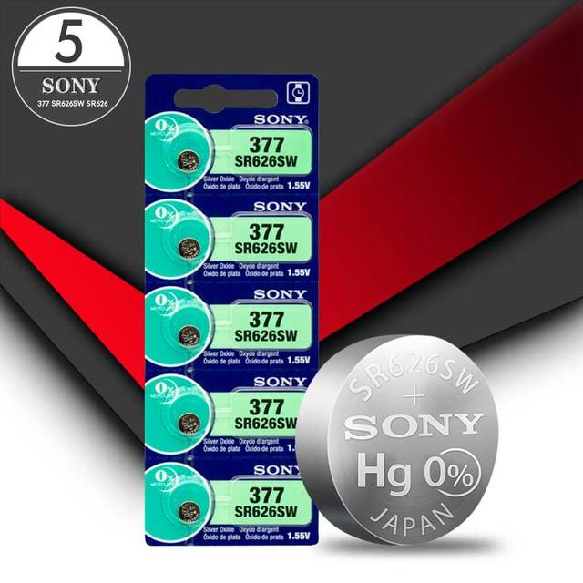 5pc Sony 100% Original 377 SR626SW SR626 AG4 1.55V Silver Oxide Watch Battery SR626SW 377 Button Coin Cell MADE IN JAPAN 1