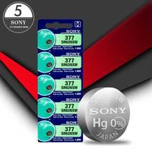 5pc Sony 100% Original 377 SR626SW SR626 SR626SW AG4 1.55V Silver Oxide Pilhas 377 Botão de Célula tipo Moeda FEITA NO JAPÃO