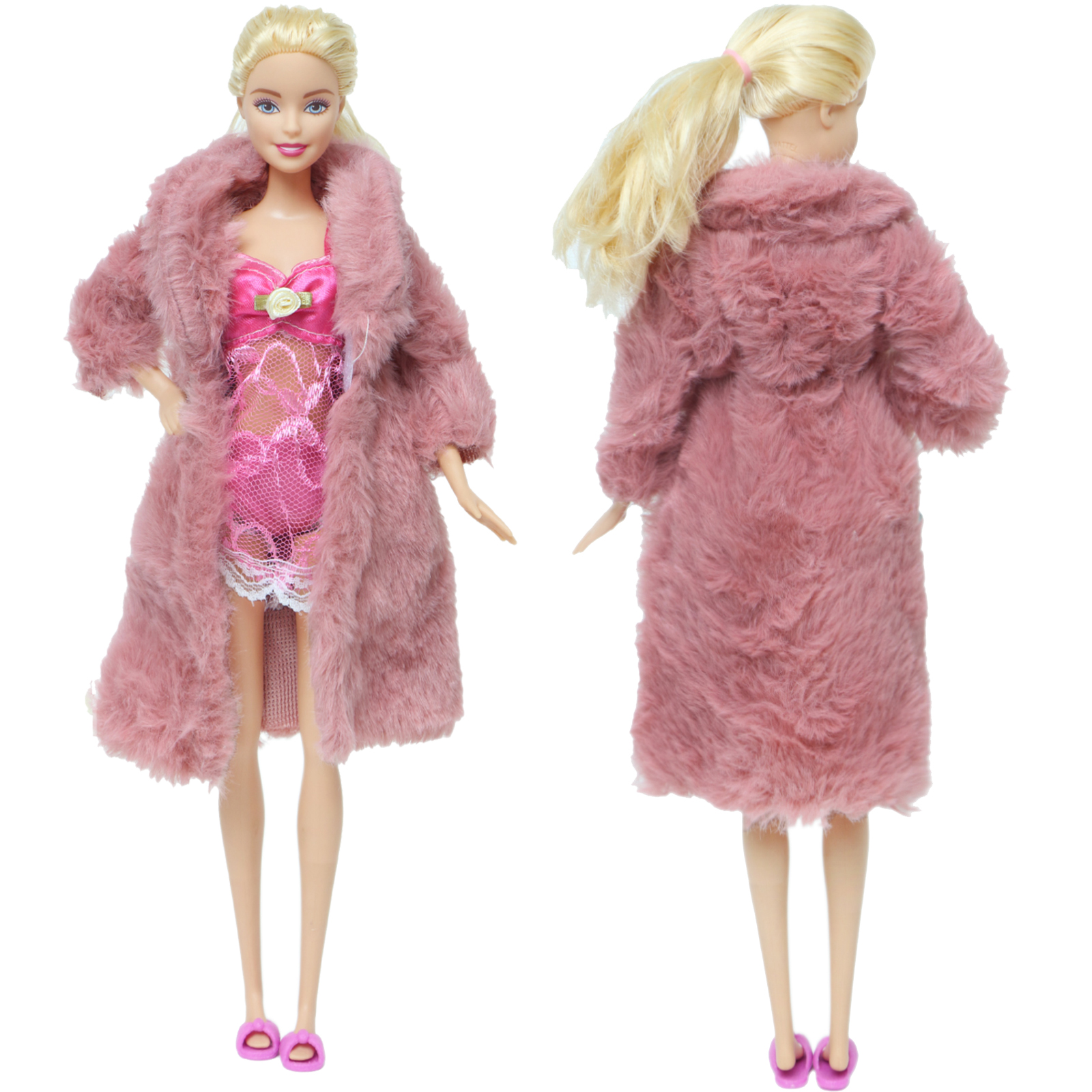 Handmade Doll Outfit Pretty Doll Clothes Set Coat +  Lovely Flat Slippers + Lace Pajamas Outfit for 12