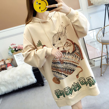 Maternity Clothes 2019 Autumn & Winter New Style Loose-Fit Mid-length Hoodie Women's Hooded Korean-style New Style Dress Hoodie