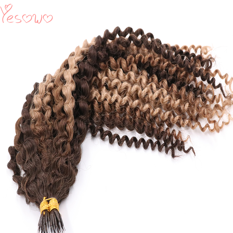 Yesowo 1g/strand BM# Highlight Ombre Frosted Color Cheap Mongolian Kinky Curly Human Hair Plastic I Tip Hair Extensions Curly