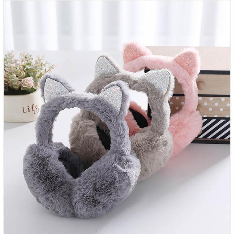 Calymel Women/Girl Fluffy Earmuffs Winter Warm Soft Plush Earmuffs Outdoor Ear Warmers Xmas Gift Earlap Headphones