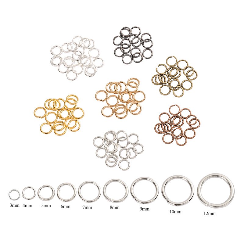 200pcs 3/4/6/7/8/10mm Metal Jewelry Finding Open Single Loops Jump Rings & Split Ring for Diy Jewelry Making Connector Findings