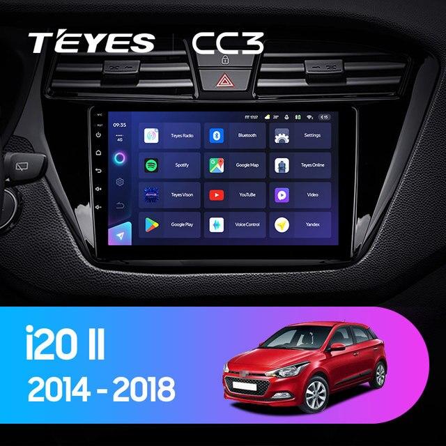 TEYES CC3 Штатная магнитола For Хендай Ай 20 GB For Hyundai i20 2 II GB 2014 - 2018 до 8-ЯДЕР, до 6 + 128ГБ 27EQ + DSP carplay автомагнитола 2 DIN DVD GPS android 10 мультимедиа автомобиля головное устройство 2