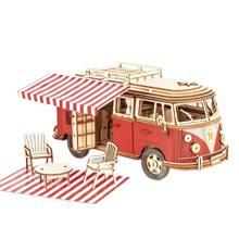Voiture 3D en bois pour camping-car Volkswagen T1, puzzle, bricolage à la main, modèle assemblé, jouet pour garçon et femme, cadeau, nouvelle collection, 21001