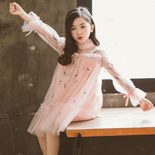 Kids Dresses for 6 8 10 12 14 Yrs 2019 Autumn Long-sleeve Fashion Teenage Pink White Girl Princess Cute Party Lace Dress