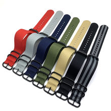 Wholesale 7 Color Heavy Duty Nylon Watchband NATO ZULU Strap 20mm 22mm 24mm Striped Rainbow Canvas Replacement Watch Band(China)