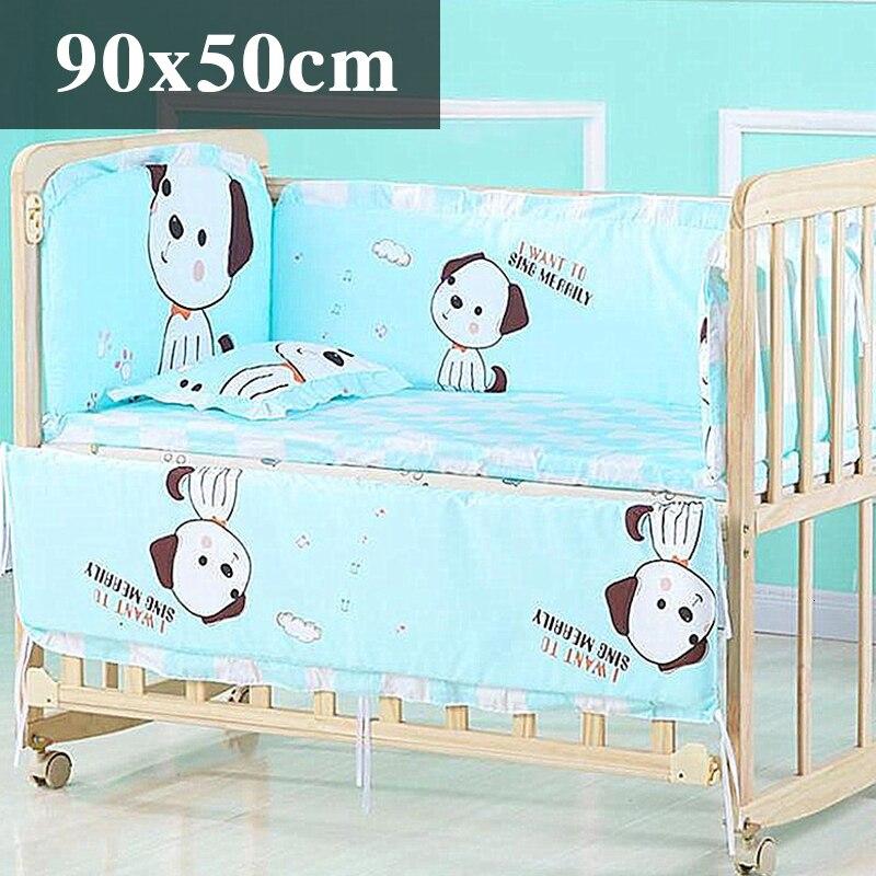 5 шт. натуральный хлопок детское постельное белье Комплект для бампера мягкий съемным моющимся коляска для новорожденных Детское постельное белье детская кроватка бампер детская комната с декором на утолщенной - Цвет: Stereo puppy 90x50cm