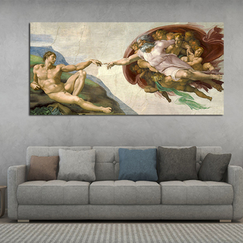 OUCAG The Creation Of Adm By Michelangelo Poster And Prints Abstract Famous Religious Wall Painting Picture Artwork Home Decor image