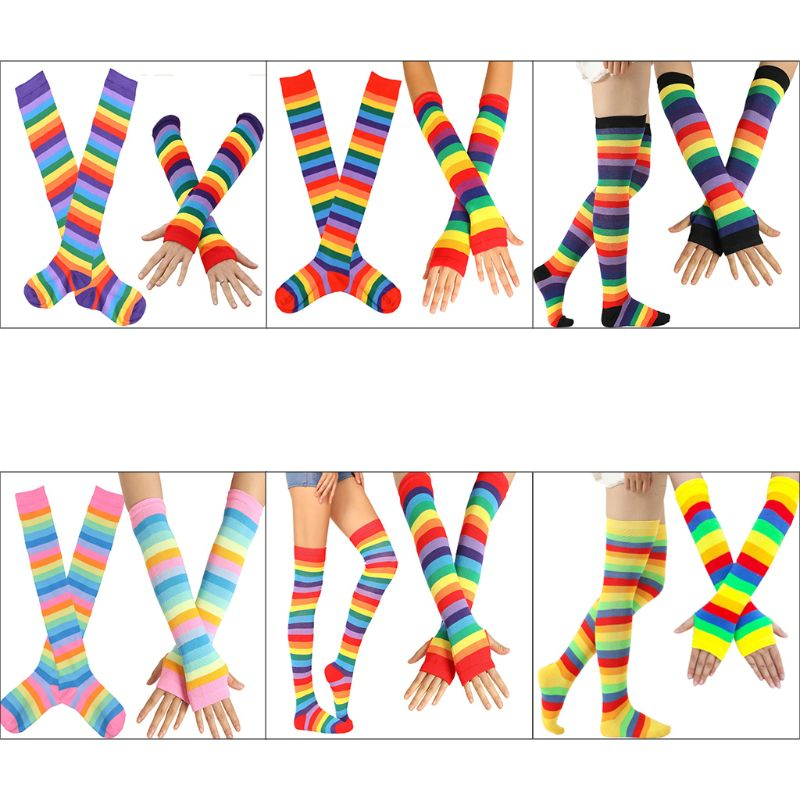 Womens Rainbow Stripes Over Knee Thigh High Socks Arm Warmer Fingerless Gloves Set Fancy Dress Cosplay Masquerade Party Costume