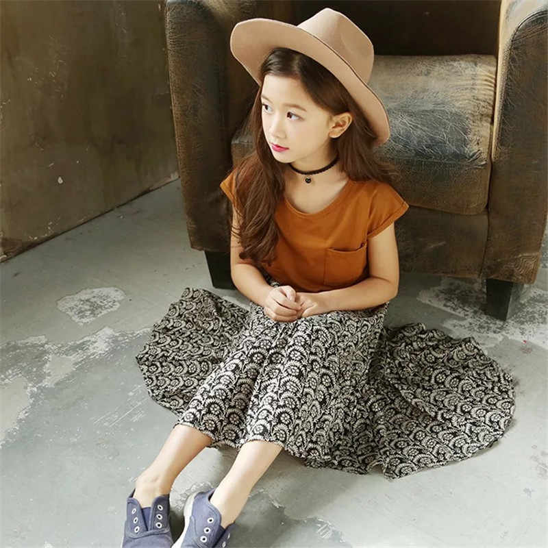 2020 여자 옷 세트 여름 여자 드레스 t-셔츠 + 긴 드레스 정장 어린이 공주 드레스 어린이 의류 정장 5 6 7 8 년