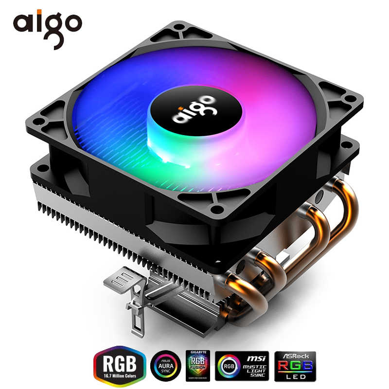 Aigo Cpu Koeler 4 Heatpipe Cpu Cooling Tdp 280W 3Pin Fan Pc Cooling Heatsink 90 Mm Rgb Fan Radiator 115X/775/1366/2011/AM3 +/AM4