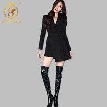 SMTHMA осенний подиумный комплект из 2 предметов, женский черный блейзер в полоску с длинным рукавом, пальто с неровной складкой, юбка миди, Женская мода