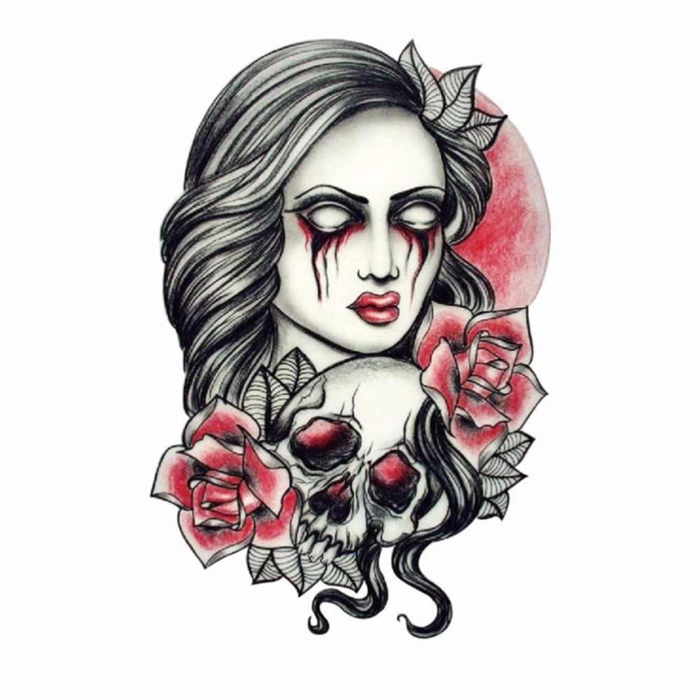 Tatuaże do ciała produkty wodoodporne naklejki tymczasowe tatuaże Sexy Beauty różowa niebezpieczna czaszka Scary Lady fałszywy tatuaż klej