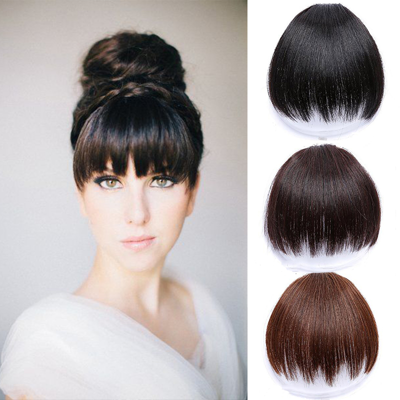 LUPU Women's Bangs, Short Hair Clips, Synthetic Hair, Natural Black, Solid Color